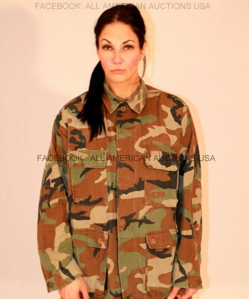 H/C Temp  Authentic Battle Dress Uniform Woodland BDU Jacket Blouse Hunting  US