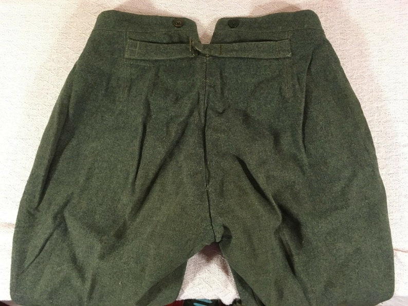Vintage Swiss Military World War II Wool Blue Green Infantry Trousers Pants