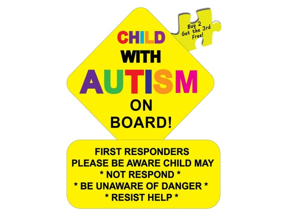 """Child With Autism Alert First Responders Decal Sticker 3.25/"""" x 4.25/"""" p69"""