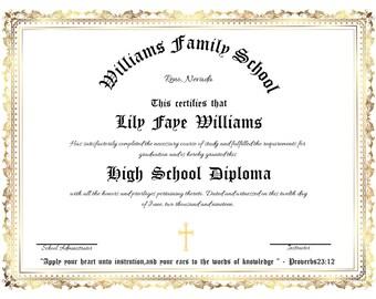 photograph relating to Homeschool Diploma Printable known as Printable degree Etsy