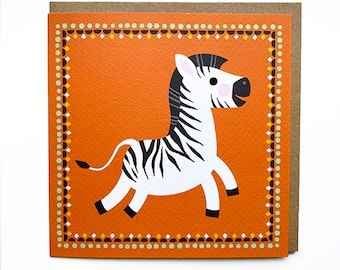 Plastic Free Funny Zebra Illustration Zebra Thank You Card Illustrated Animal Character Greetings Card Thank You for Children or Adult