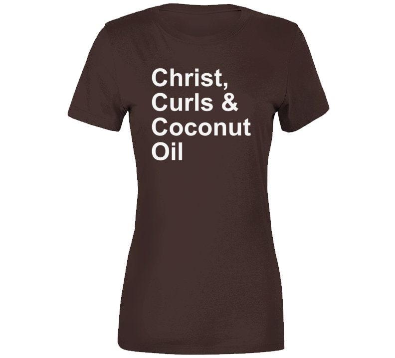Vintage Aprons, Retro Aprons, Old Fashioned Aprons & Patterns Christ, Curls  Coconut Oil Natural Hair T-Shirt $20.99 AT vintagedancer.com