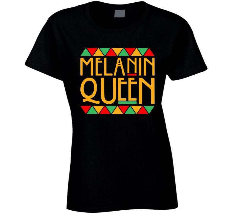Vintage Aprons, Retro Aprons, Old Fashioned Aprons & Patterns Melanin Queen Black History Month Pride Ladies T Shirt $20.99 AT vintagedancer.com