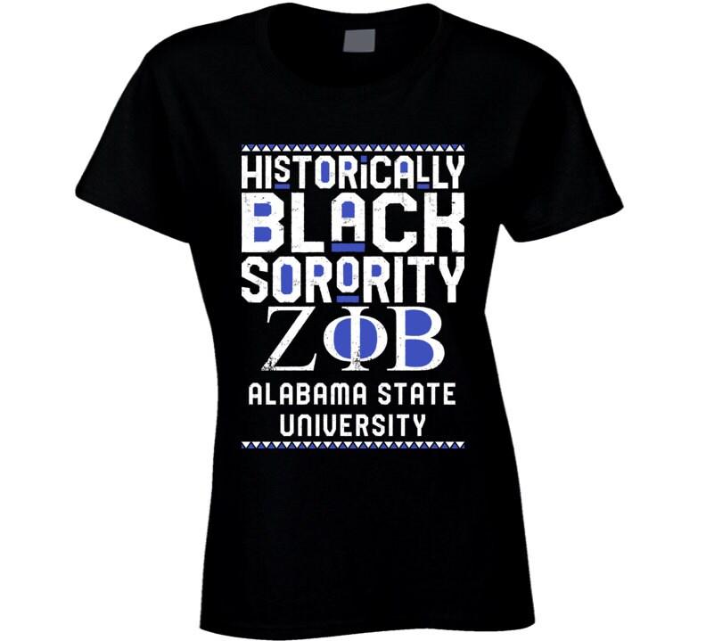 Vintage Aprons, Retro Aprons, Old Fashioned Aprons & Patterns Alabama State University Zeta Phi Beta Hbcu Black Greek Sorority Organization College T Shirt $20.99 AT vintagedancer.com