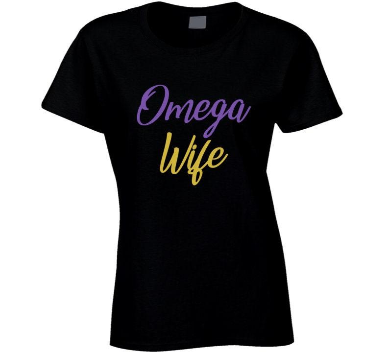 Vintage Aprons, Retro Aprons, Old Fashioned Aprons & Patterns Omega Wife Black Greek Psi Phi Fraternity Best Gift Ladies T Shirt $20.99 AT vintagedancer.com