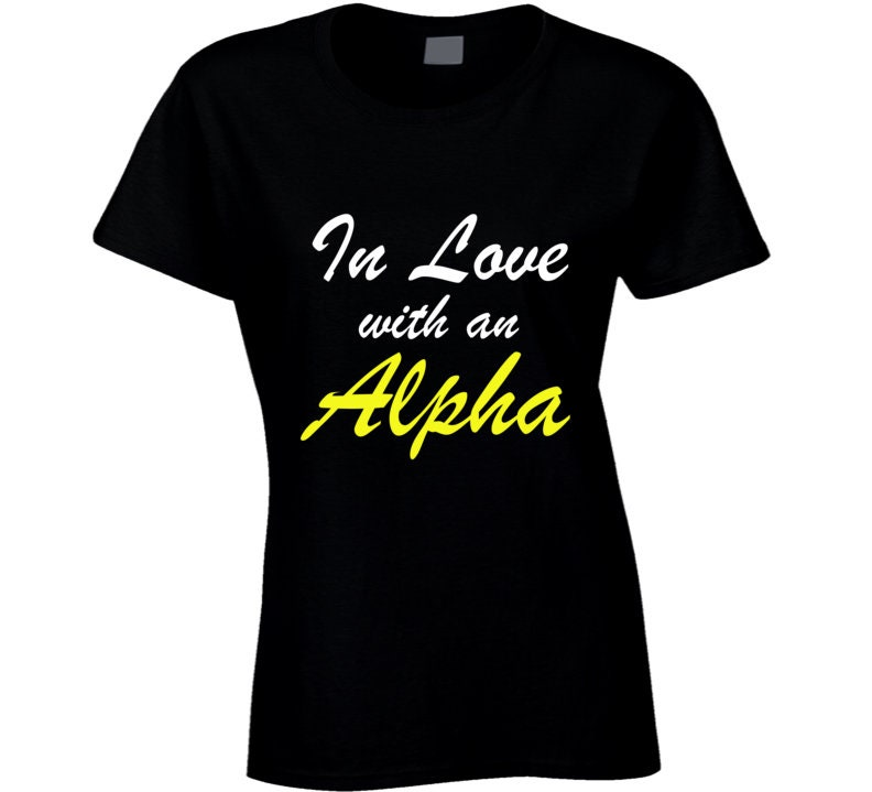 Vintage Aprons, Retro Aprons, Old Fashioned Aprons & Patterns In Love With An Alpha Fraternity Apa1906 Black  Gold Phi Girlfriend Best Gift Ladies T Shirt $20.99 AT vintagedancer.com