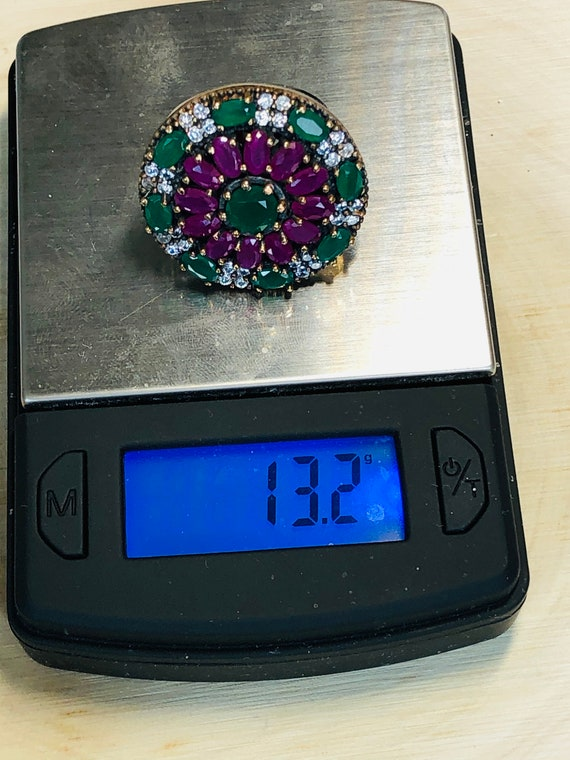 Sterling Silver  Ruby,Emerald,  CZ  Ring. - image 10
