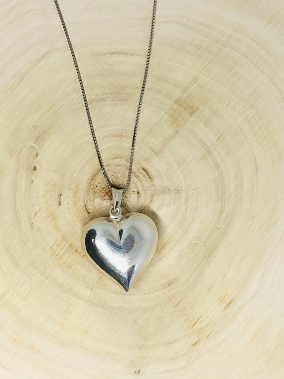 Sterling Silver Puffed Heart Pendant. - image 2