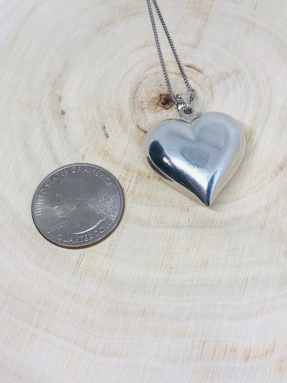 Sterling Silver Puffed Heart Pendant. - image 4