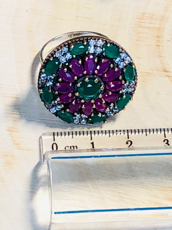Sterling Silver  Ruby,Emerald,  CZ  Ring. - image 8