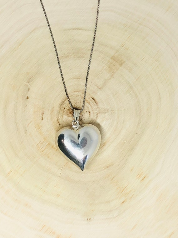 Sterling Silver Puffed Heart Pendant. - image 3