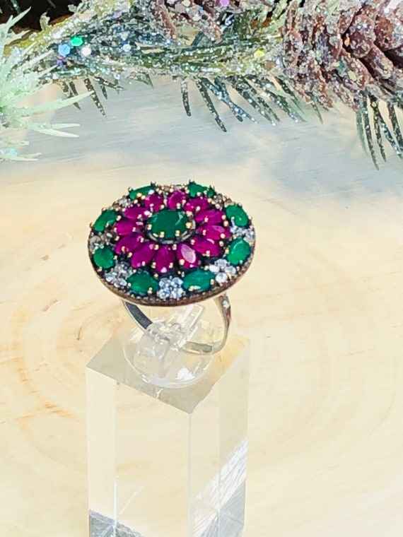 Sterling Silver  Ruby,Emerald,  CZ  Ring. - image 1