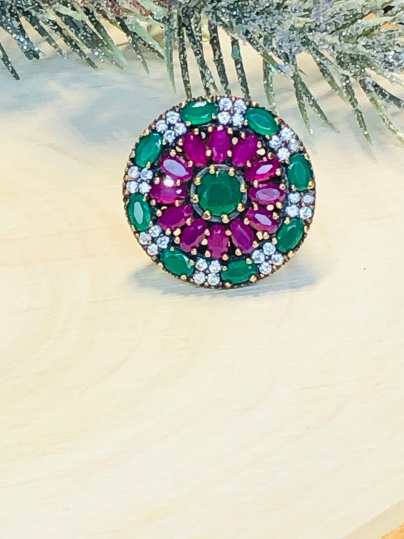 Sterling Silver  Ruby,Emerald,  CZ  Ring. - image 2