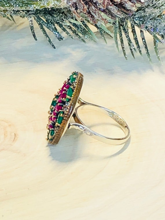 Sterling Silver  Ruby,Emerald,  CZ  Ring. - image 4