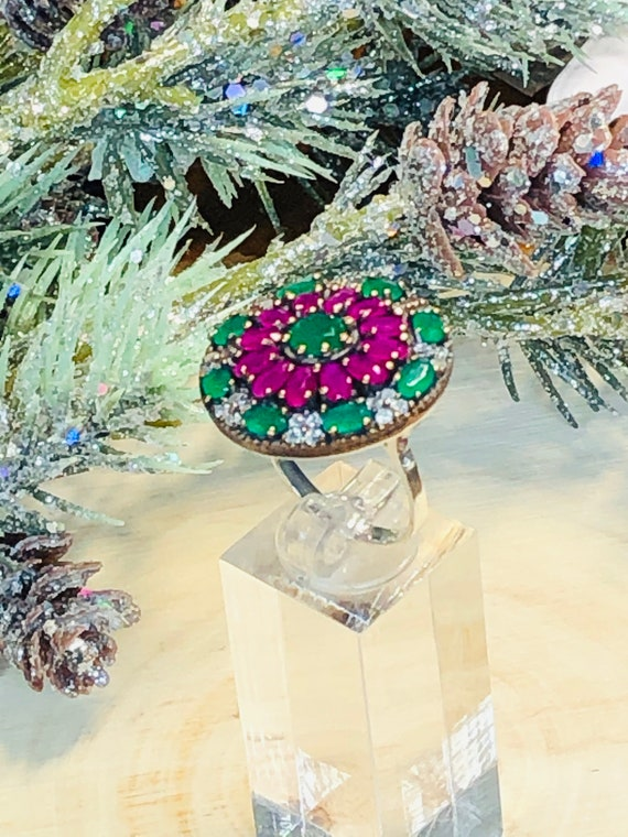 Sterling Silver  Ruby,Emerald,  CZ  Ring. - image 9