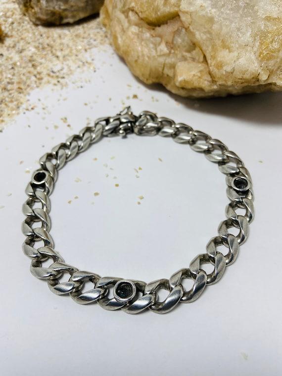 Vintage 950 Sterling Silver Cuban Link Bracelet.