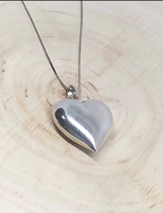 Sterling Silver Puffed Heart Pendant. - image 1
