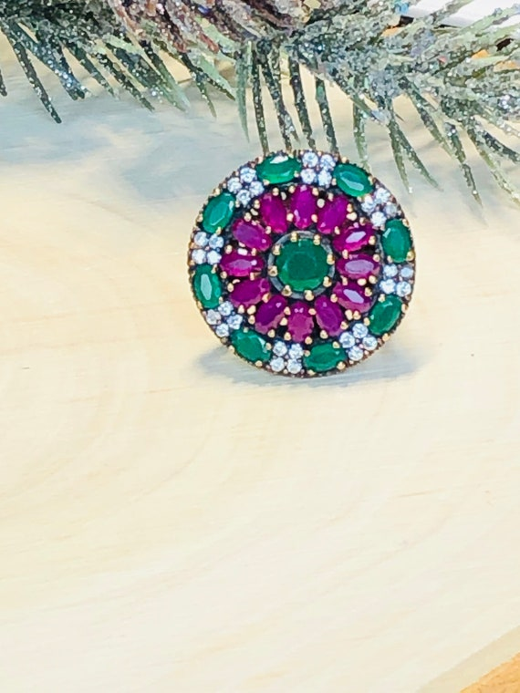 Sterling Silver  Ruby,Emerald,  CZ  Ring. - image 3