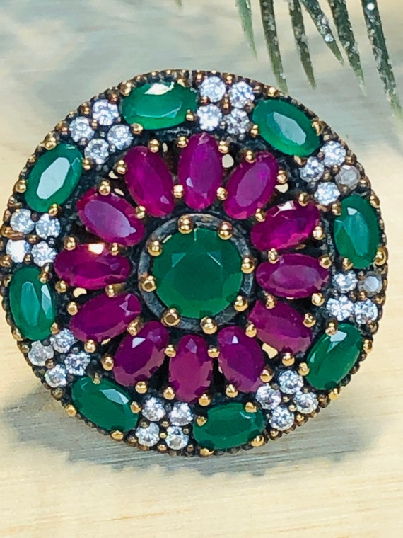 Sterling Silver  Ruby,Emerald,  CZ  Ring. - image 5