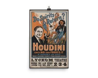 "/""ne spiritueux retour/"" vers 1909 Encadrée harry houdini vintage poster photo"