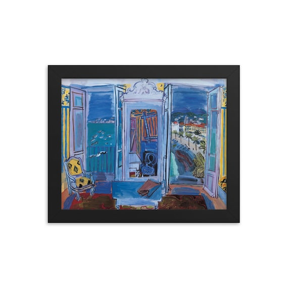 Interior with open windows excellent condition blue museum print still life Raoul Dufy exhibition poster