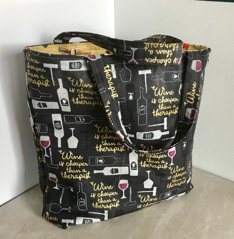 eco bag library bag school bag Wine is Cheaper Than a Therapist large tote bag purse shopping bag