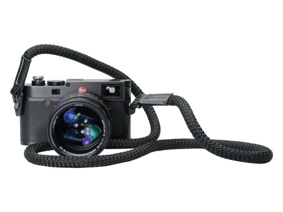 Vi Vante Sheetline Black Rope Luxury Camera Neck Strap with Built in Tension Relief for Rounds Strap Lugs V2