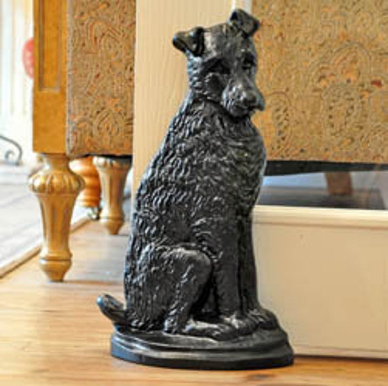 Black Terrier Dog Door Stop Etsy