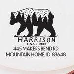 Bear Address stamp | Hand lettered | Treeline | Rustic | Housewarming | Wedding