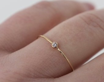 8a582b9d03549 Tiny diamond ring   Etsy