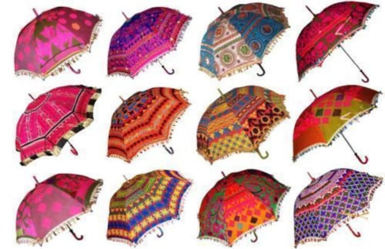 Wholesale Lot Indian Traditional Designer Vintage Colorful Ethnic Handmade Patch work Fabric Mirror Work Embroidered Umbrella