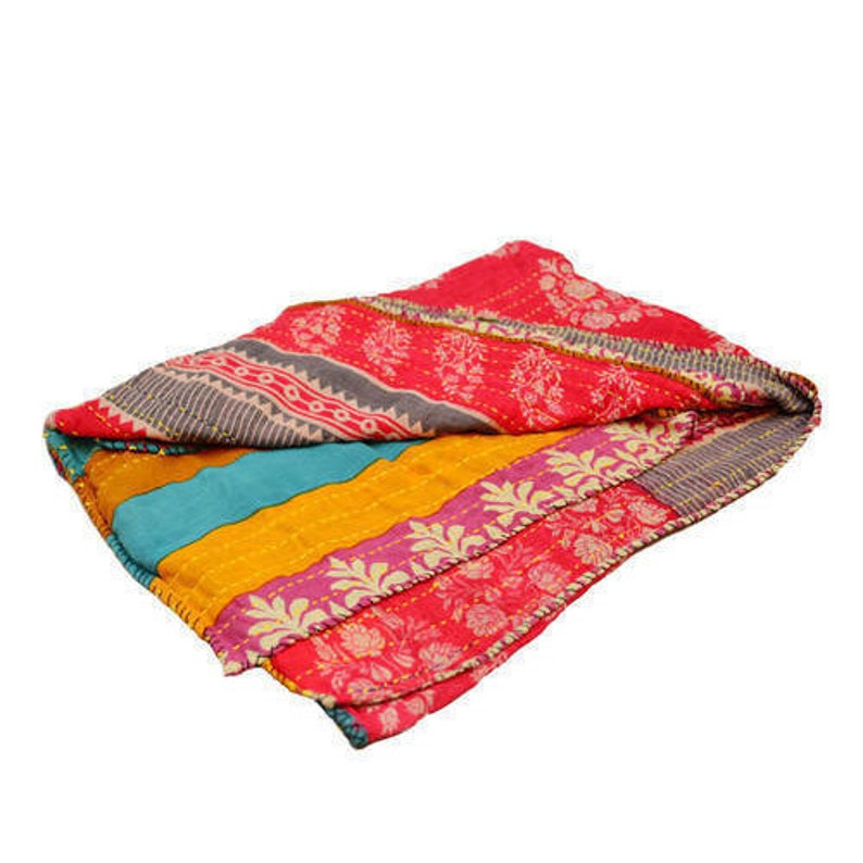 2 PC Wholesale Lot Indian Vintage Cotton Sari Kantha Quilt Gudri Reversible  Throw Twin Size Throw Vintage Cotton Sari Kantha Quilt