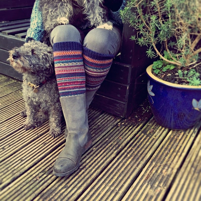 Rustic Blue Leg Warmers  Knitted Chunky Boot Cuffs  Boho image 0