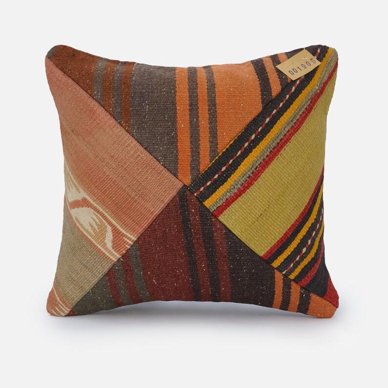 Turkish Kilim Pillow Cover Throw Pillow Decorative Pillow 16x16 Pillow Covers Farmhouse Pillow Bohemian Pillow N0001905