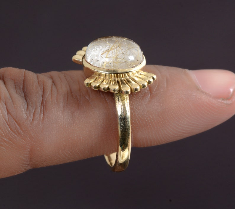 Indian jewelry Gemstone ring,Brass ring,Handmade rings,Statement ring,women ring,gift for her,Wings ring Vintage jewelry Moonstone ring
