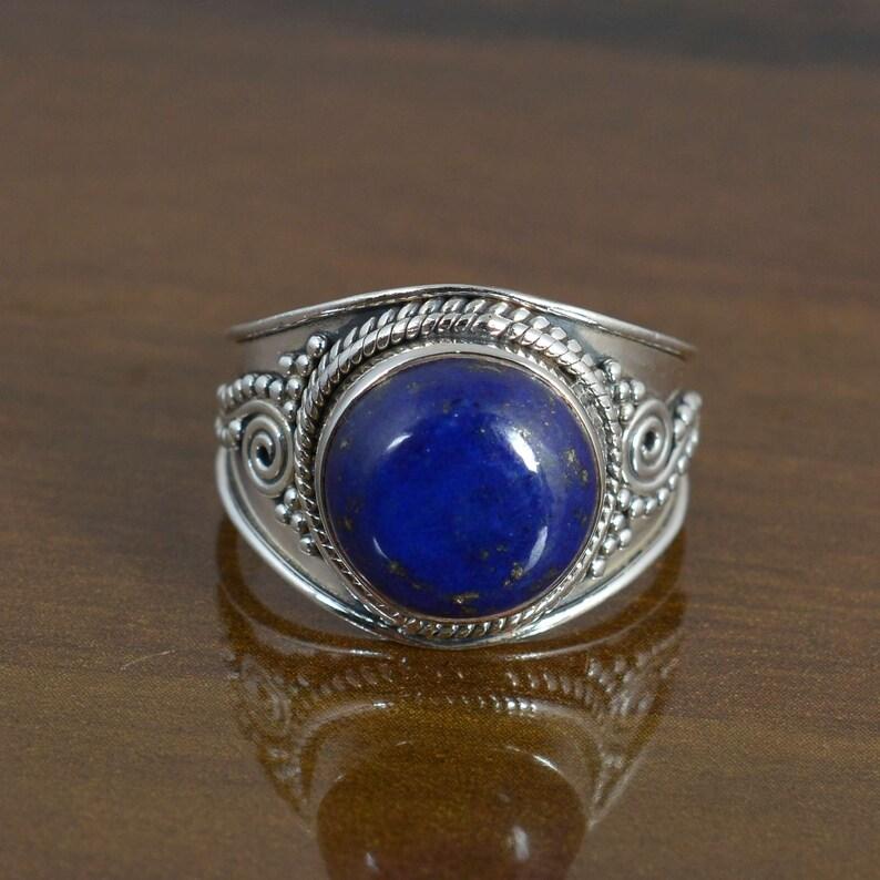 vintage rings,boho rings Round Lapis lazuli ring,sterling silver ring,gemstone ring,midi ring,promise ring,dainty ring