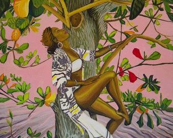 Fine Art Print - Tropical Tree Goddess in Pink