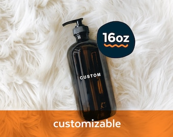 Custom amber glass bottle with black pump - 16oz | modern glass bottle for kitchen bath laundry room office gym or anywhere, zero waste home