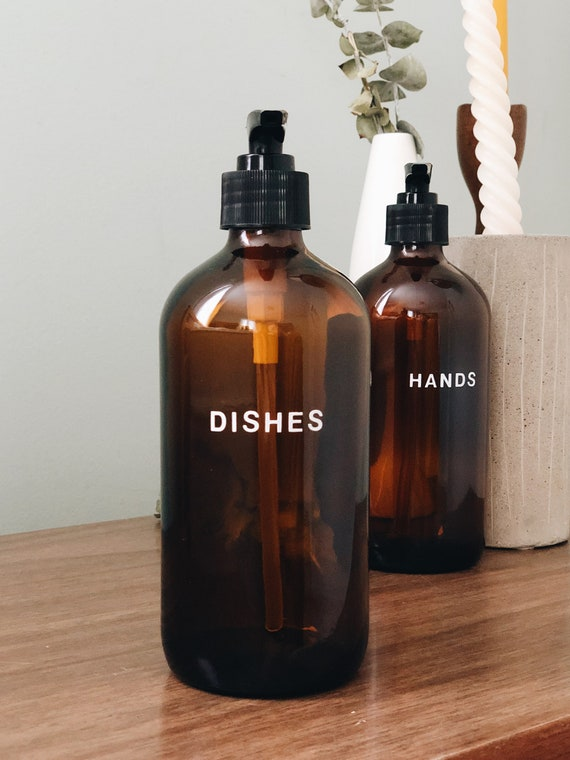 glass kitchen soap dispenser set - 16oz ++ hand and dish soap set, amber  glass bottles, zero waste, modern kitchen, farmhouse kitchen, soaps