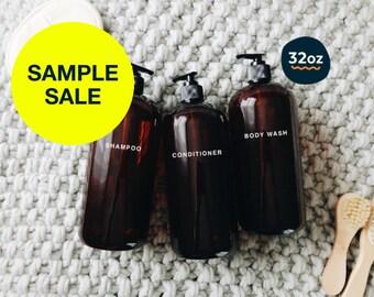 SAMPLE SALE XL amber plastic shower set 32oz -shampoo, conditioner & body wash dispensers | large plastic shampoo bottle w/ pump, zero waste