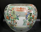Antique of Chinese Qing Dynasty Guan Ware Style Famille Verte Wucai Porcelain Big Pot,Rare China Royal Art Vintage ceramic collection