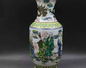 Qing Dynasty Kangxi Style Famille Verte Wucai Porcelain Big Mallet Vase,China Vintage ceramic collection Chinese Antiques Porcelain