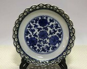 Qing Dynasty Qianlong Style Blue and White Porcelain Plate.Rare China Imperial Art Vintage ceramic Collection Chinese Antiques Porcelain
