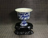 Ming Dynasty Yongle Style Blue and White Porcelain Stem Cup.Rare China Imperial Art Vintage ceramic Collection Chinese Antiques Porcelain