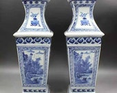 Pair of Qing Dynasty Kangxi Style Blue and White Porcelain Big Square Vase,China Vintage ceramic collection Chinese Antiques Porcelain