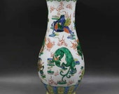 Qing Dynasty Kangxi Style Famille Verte Wucai Porcelain Big Vase,China Vintage ceramic collection Chinese Antiques Porcelain