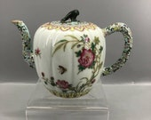 Chinese Antique Qing Dynasy Qianlong Guan Ware Style Famille Rose Fencai porcelain Teapot.Rare China Imperial Art Vintage ceramic Collection