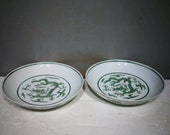 Pair of Ming Dynasty Hongzhi Guan Ware Style Fmille Verte Porcelain Plate.Rare China Imperial Art Vintage ceramic Collection Porcelain