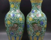 Pair of Qing Dynasty Kangxi Style Famille Rose Porcelain Big Mallet Vase,China Vintage ceramic collection Chinese Antiques Porcelain