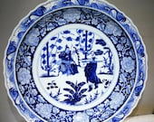 Late Yuan to Early Ming Dynasty Porcelain Blue and White Plate,Rare Vintage Chinese Royal Art Antique Ceramic Collection Chinese Antiques